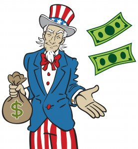Illustration of Uncle Sam holding a money back and throwing money