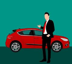 Illustration of a professionally dressed man standing in front of a car pointing at it