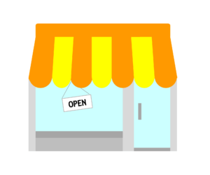 Illustration of the outside of a business with an open sign